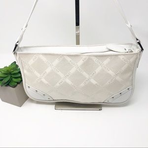 Longchamp Signature White Jacquard Studded Purse